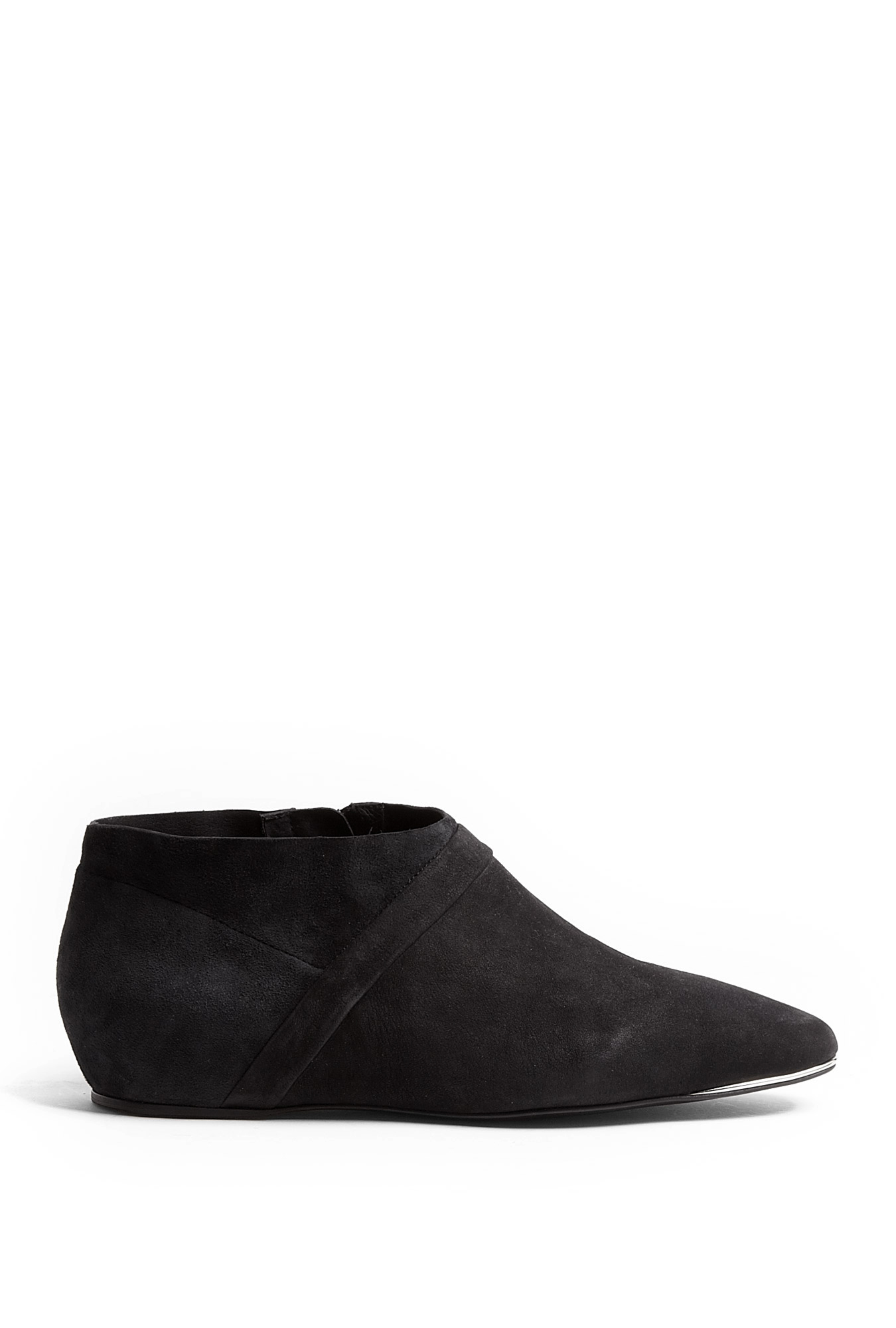 flat black ankle boots ear marked